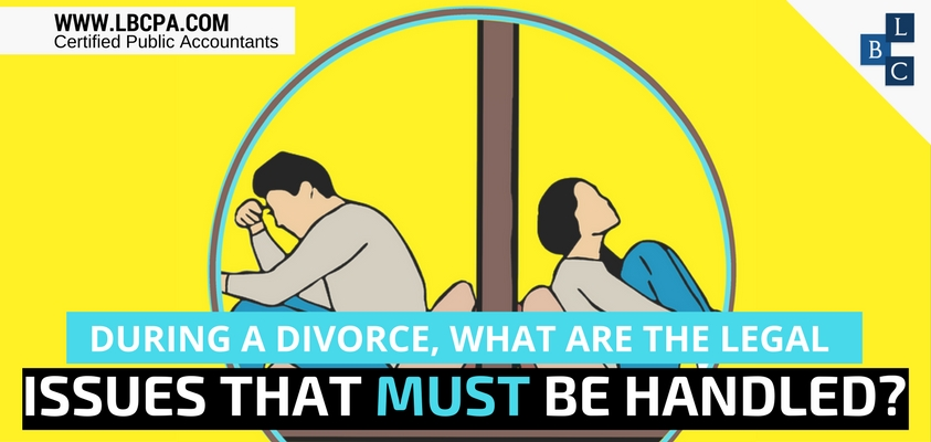 During a divorce, what are the legal issues that must be handled