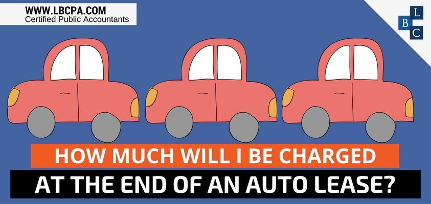 How much will I be charged at the end of an auto lease?