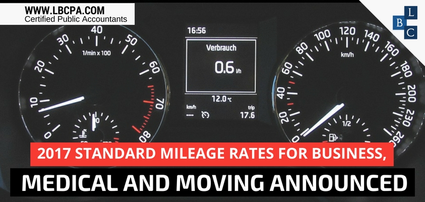 2017 Standard Mileage Rates for Business, Medical and Moving Announced