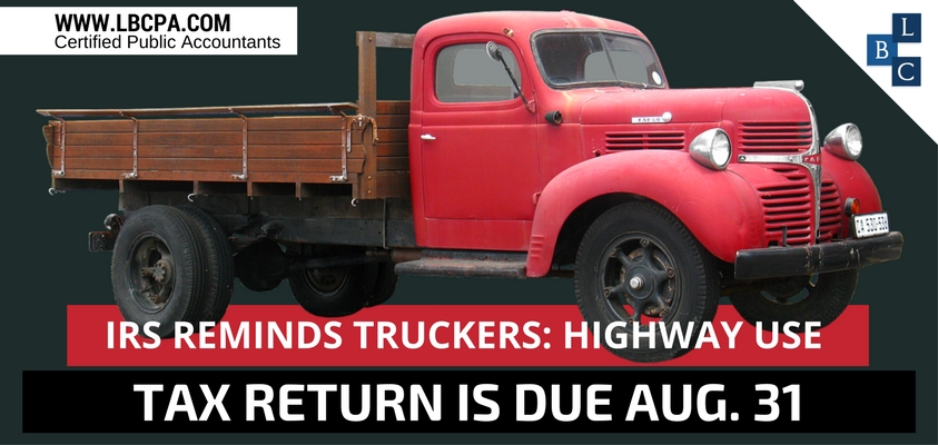 IRS Reminds Truckers Highway Use Tax Return Is Due Aug 31