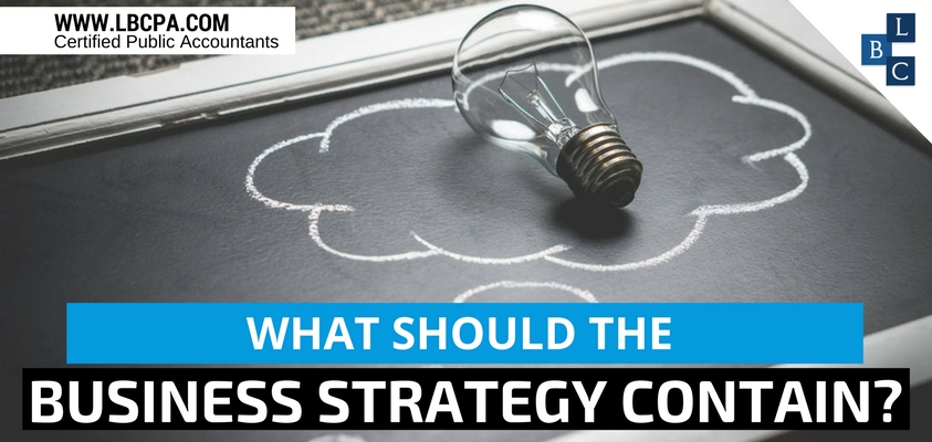 What should the business strategy contain?